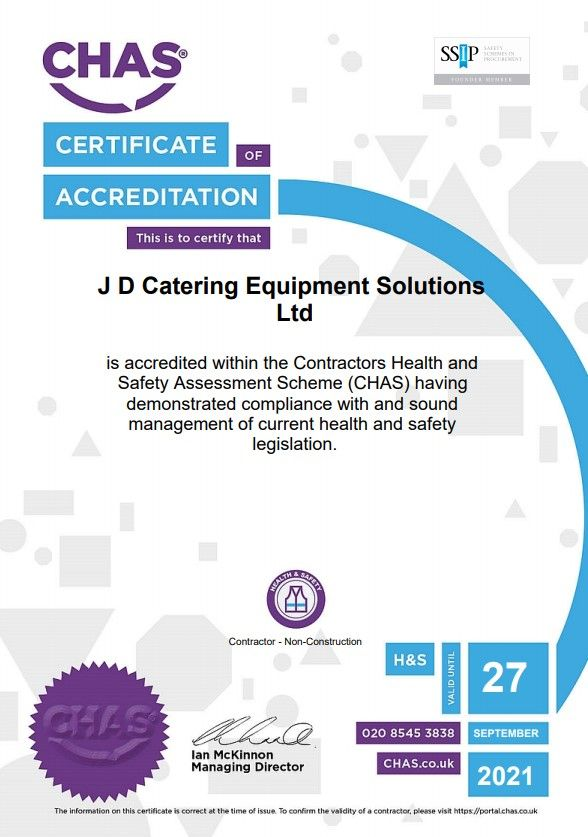 JD Catering Equipment solutions is CHAS Health & Safety Assessment Approved